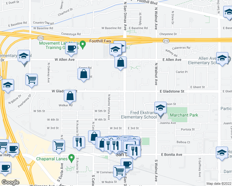 map of restaurants, bars, coffee shops, grocery stores, and more near 122 West Gladstone Street in San Dimas