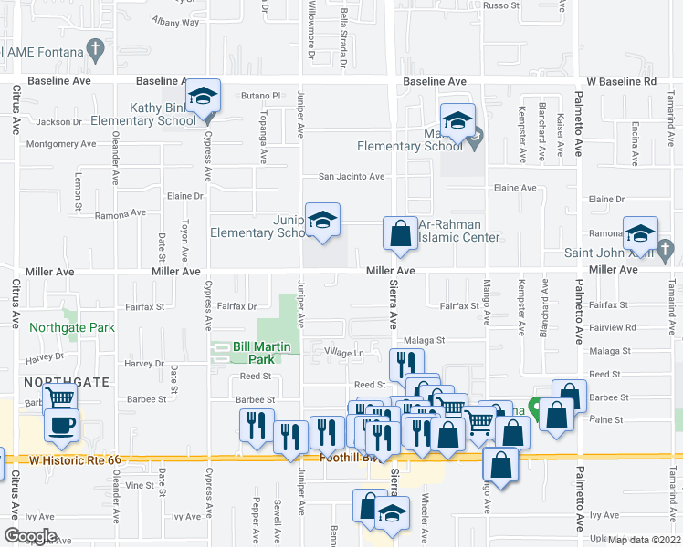 map of restaurants, bars, coffee shops, grocery stores, and more near 16787 Miller Avenue in Fontana