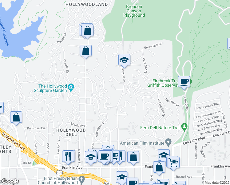 map of restaurants, bars, coffee shops, grocery stores, and more near 5945 7/8 Graciosa Drive in Los Angeles