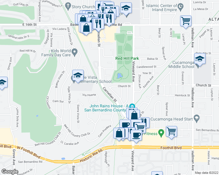 map of restaurants, bars, coffee shops, grocery stores, and more near 8443 Church Street in Rancho Cucamonga
