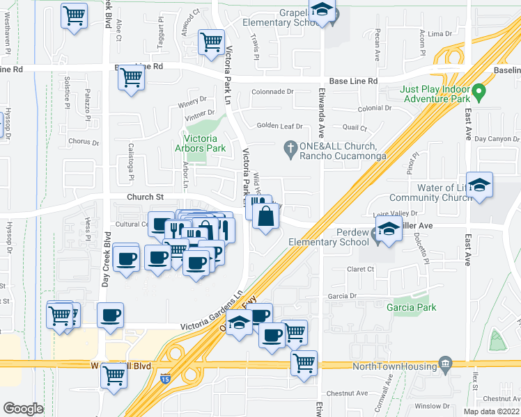map of restaurants, bars, coffee shops, grocery stores, and more near 8444 Church Street in Rancho Cucamonga
