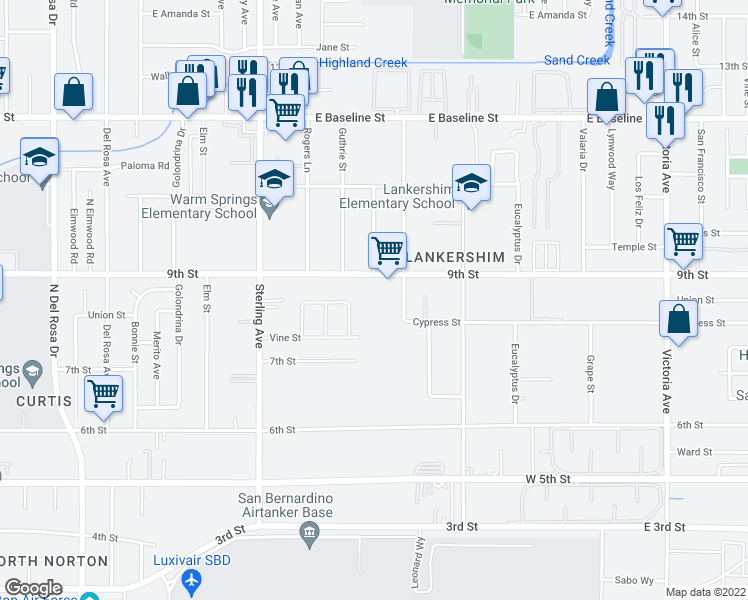 map of restaurants, bars, coffee shops, grocery stores, and more near 25941 9th Street in Highland