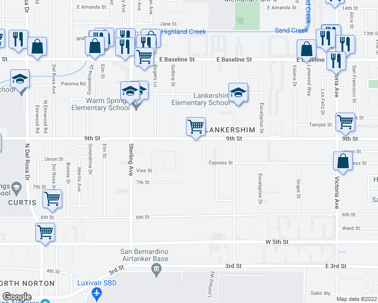 map of restaurants, bars, coffee shops, grocery stores, and more near 25941 East 9th Street in Highland