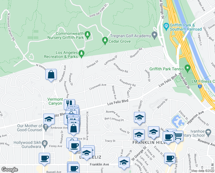 map of restaurants, bars, coffee shops, grocery stores, and more near 4120 Cromwell Avenue in Los Angeles