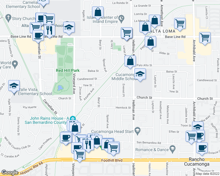 map of restaurants, bars, coffee shops, grocery stores, and more near 7618 Eastwood Avenue in Rancho Cucamonga