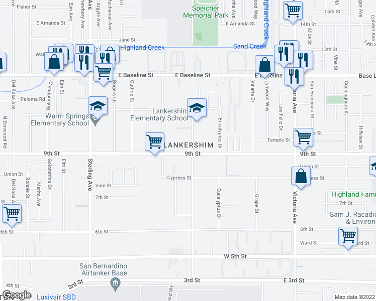 map of restaurants, bars, coffee shops, grocery stores, and more near 26088 9th Street in San Bernardino