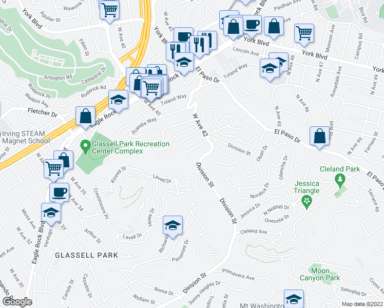 map of restaurants, bars, coffee shops, grocery stores, and more near 4000 Barryknoll Drive in Los Angeles