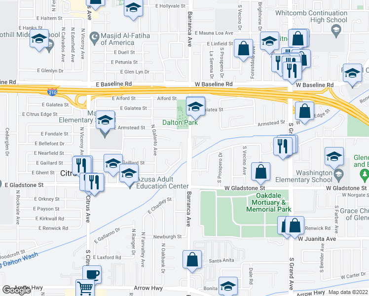 map of restaurants, bars, coffee shops, grocery stores, and more near 5728 North Traymore Avenue in Azusa