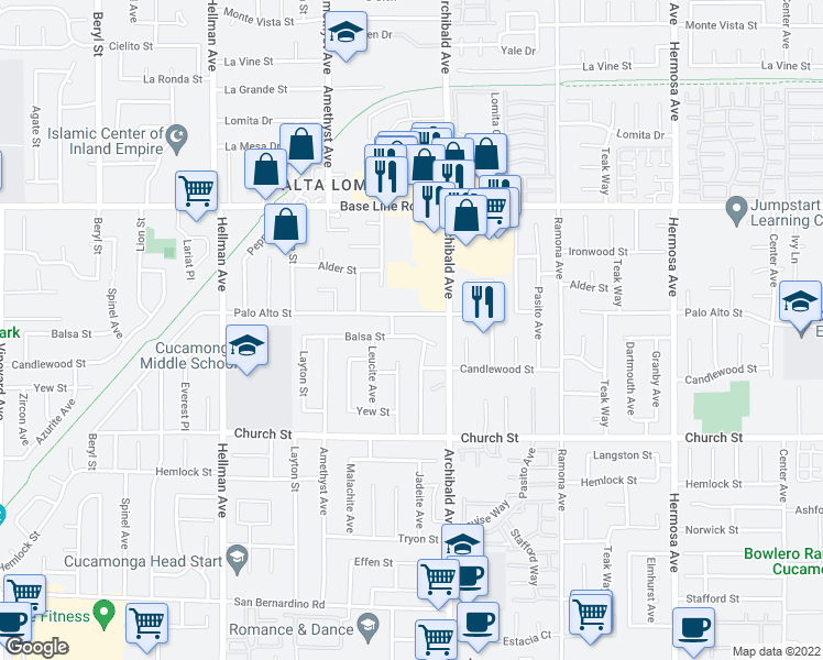 map of restaurants, bars, coffee shops, grocery stores, and more near 9630 Balsa Street in Rancho Cucamonga