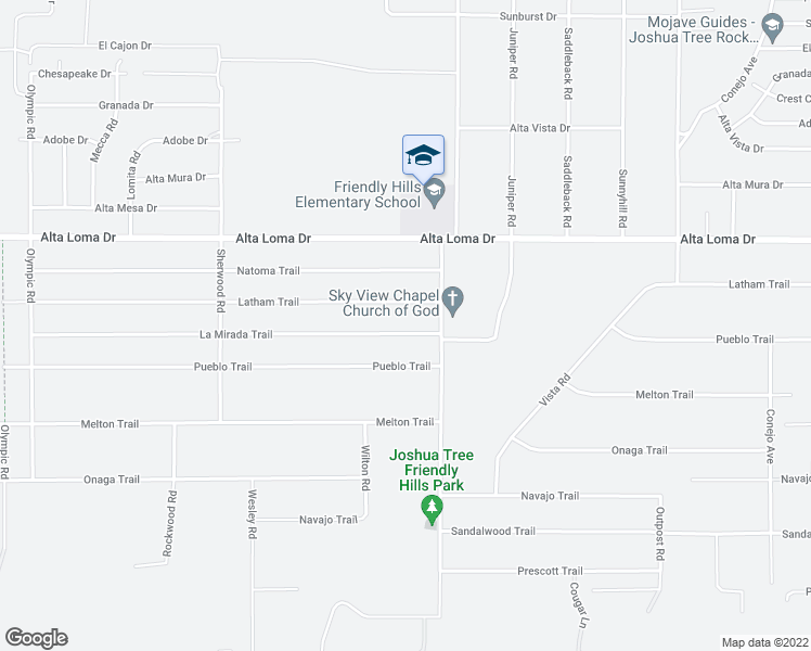 map of restaurants, bars, coffee shops, grocery stores, and more near 60834 La Mirada Trail in Joshua Tree