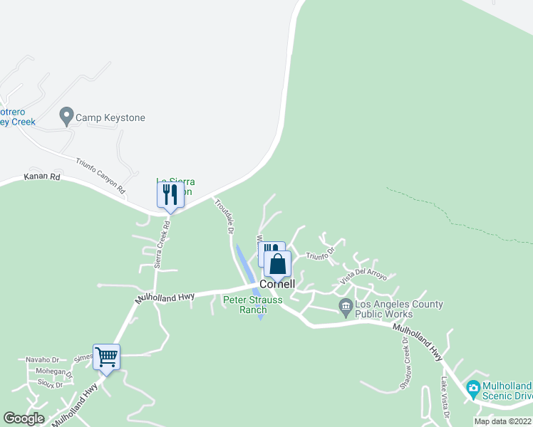 map of restaurants, bars, coffee shops, grocery stores, and more near 2500 Waring Drive in Agoura Hills