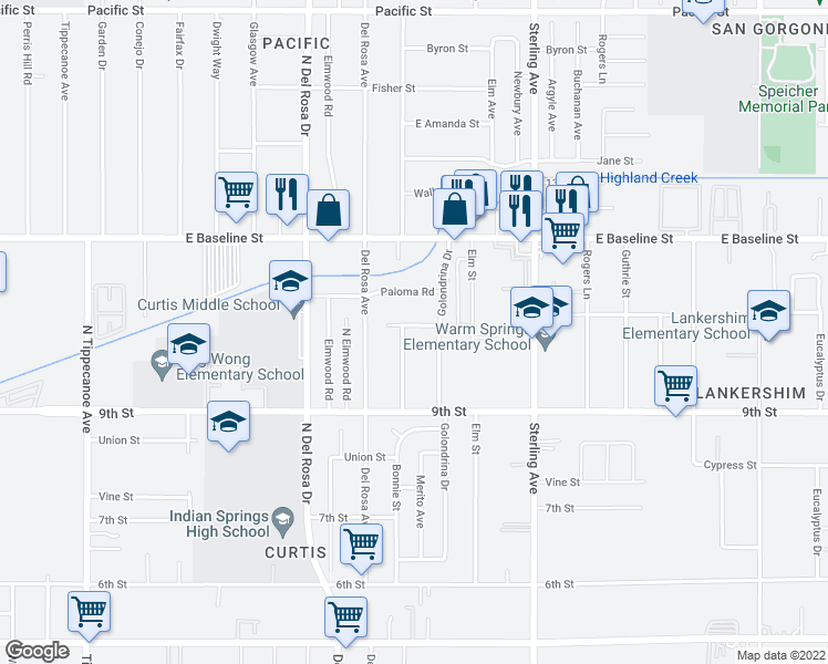 map of restaurants, bars, coffee shops, grocery stores, and more near 25453 Flamingo Road in San Bernardino