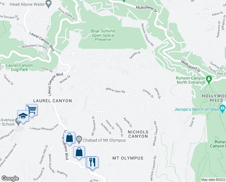map of restaurants, bars, coffee shops, grocery stores, and more near 7616 Willow Glen Road in West Hollywood