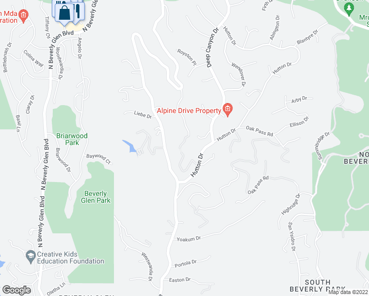 map of restaurants, bars, coffee shops, grocery stores, and more near 2571 Wallingford Drive in Beverly Hills