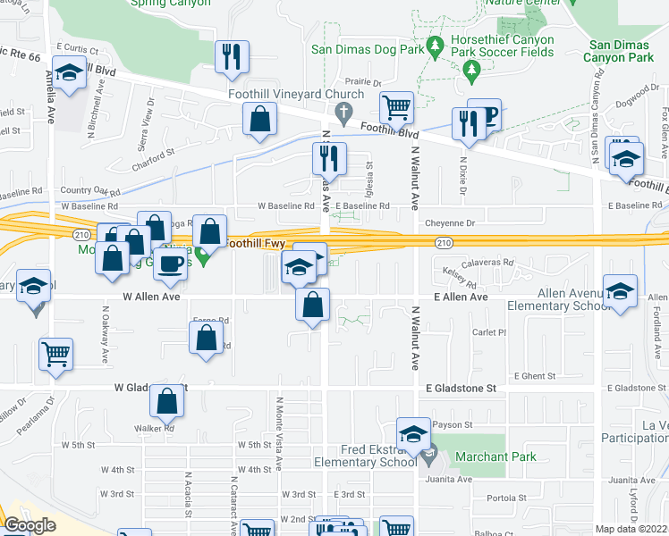 map of restaurants, bars, coffee shops, grocery stores, and more near 930 North San Dimas Avenue in San Dimas