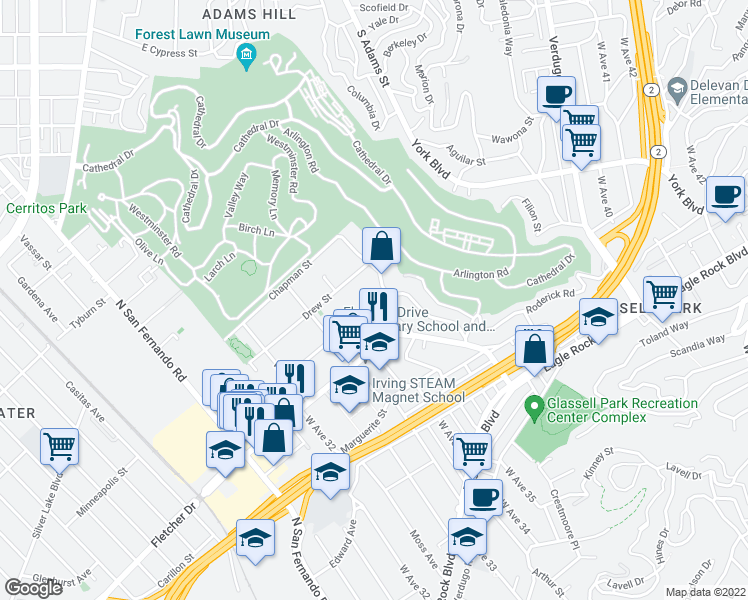 map of restaurants, bars, coffee shops, grocery stores, and more near 3367 Andrita Street in Los Angeles