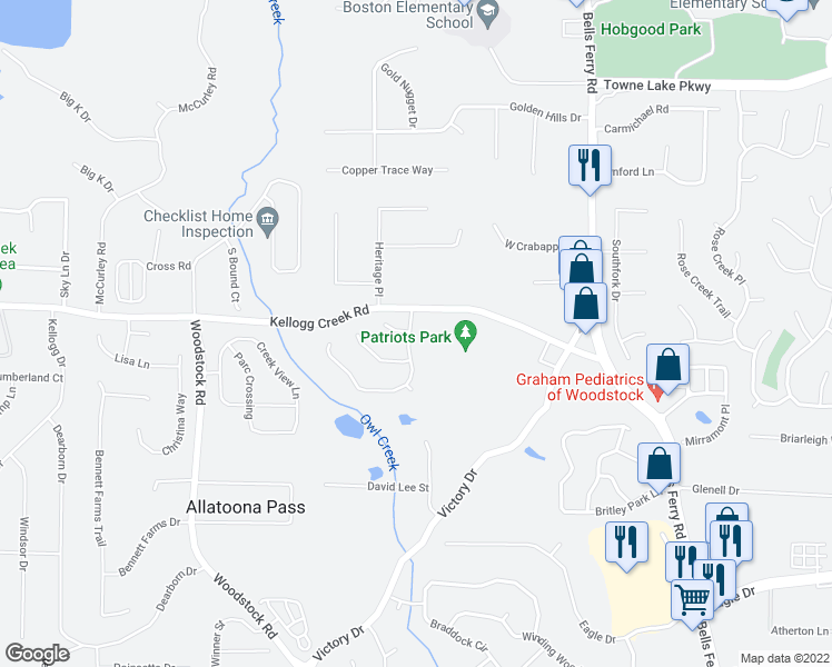 map of restaurants, bars, coffee shops, grocery stores, and more near 1005 Regency Drive in Acworth