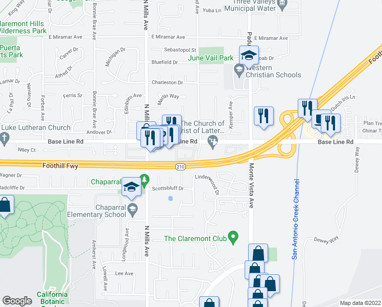 map of restaurants, bars, coffee shops, grocery stores, and more near 787 Lander Circle in Claremont