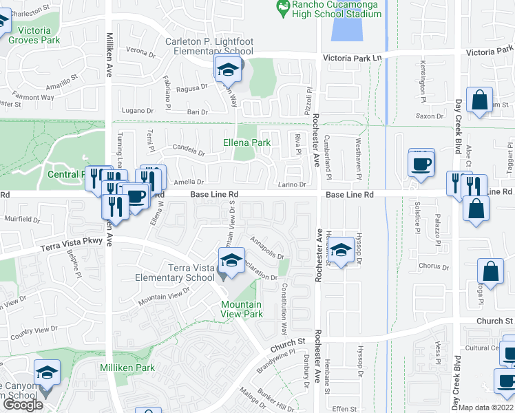 map of restaurants, bars, coffee shops, grocery stores, and more near 11723 Celebration Drive in Rancho Cucamonga