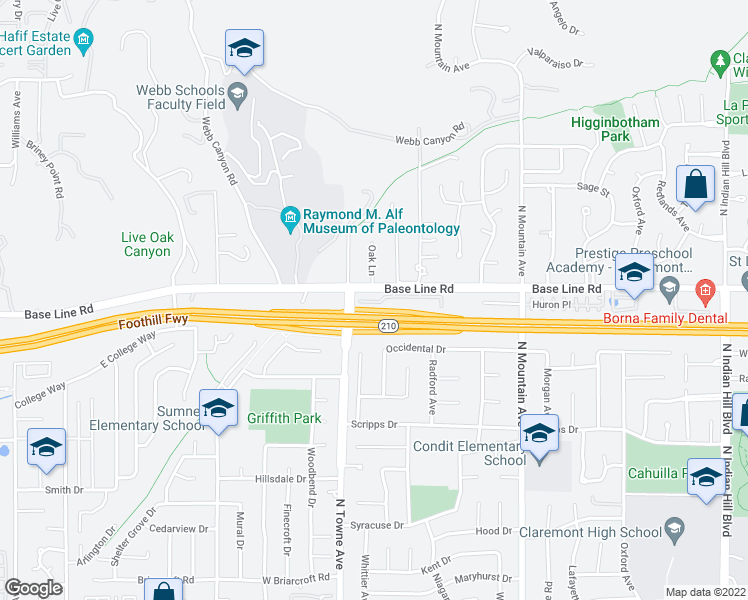map of restaurants, bars, coffee shops, grocery stores, and more near 1080 West Baseline Road in Claremont