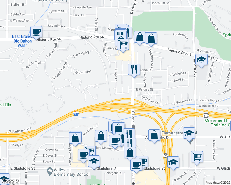 map of restaurants, bars, coffee shops, grocery stores, and more near 1813 Deserta Drive in Glendora