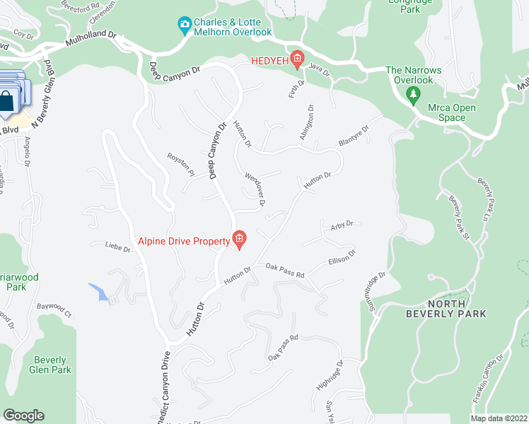 map of restaurants, bars, coffee shops, grocery stores, and more near 9742 Wendover Drive in Beverly Hills