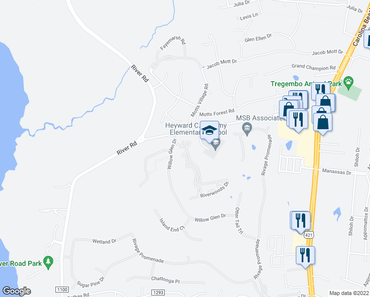 map of restaurants, bars, coffee shops, grocery stores, and more near 6110 Riverwoods Drive in Wilmington
