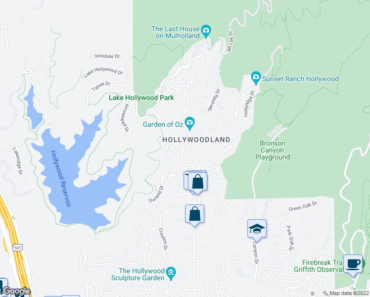 map of restaurants, bars, coffee shops, grocery stores, and more near 6434 Rodgerton Drive in Los Angeles