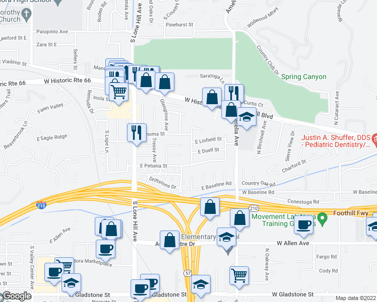 map of restaurants, bars, coffee shops, grocery stores, and more near 841 Inverness Avenue in Glendora