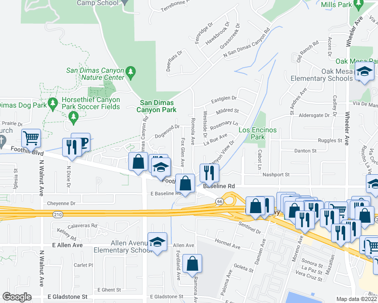 map of restaurants, bars, coffee shops, grocery stores, and more near 4689 Romola Avenue in La Verne