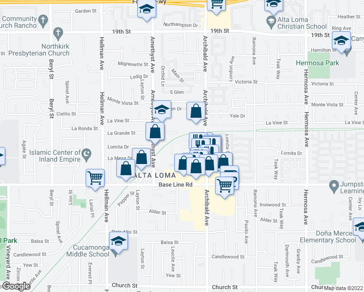 map of restaurants, bars, coffee shops, grocery stores, and more near 9600 Lomita Court in Rancho Cucamonga