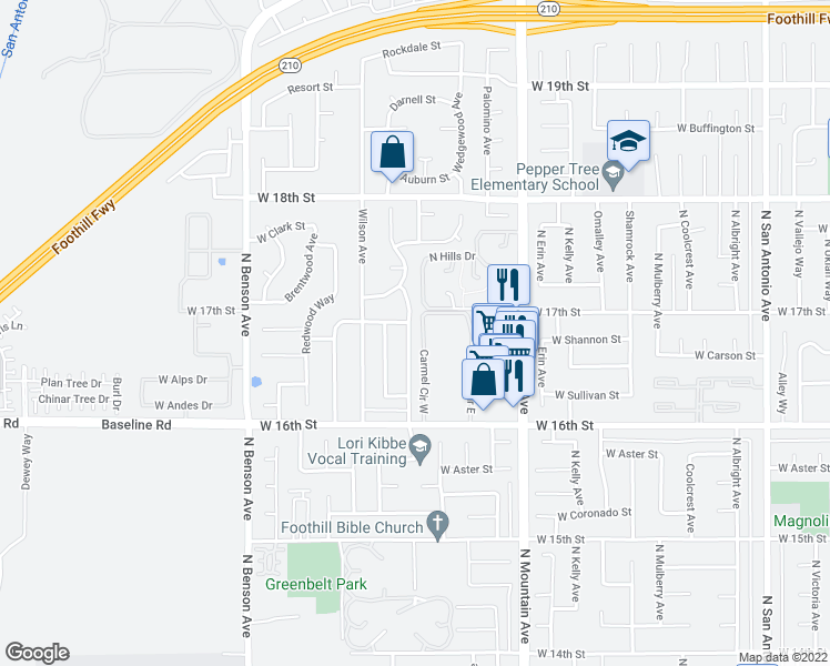 map of restaurants, bars, coffee shops, grocery stores, and more near 1680 North Maywood Avenue in Upland