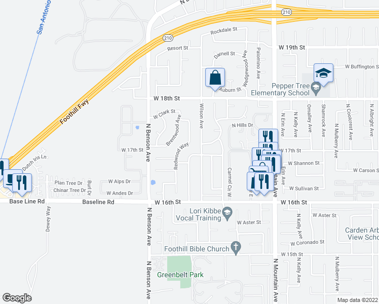 map of restaurants, bars, coffee shops, grocery stores, and more near 1695 North Glenwood Avenue in Upland