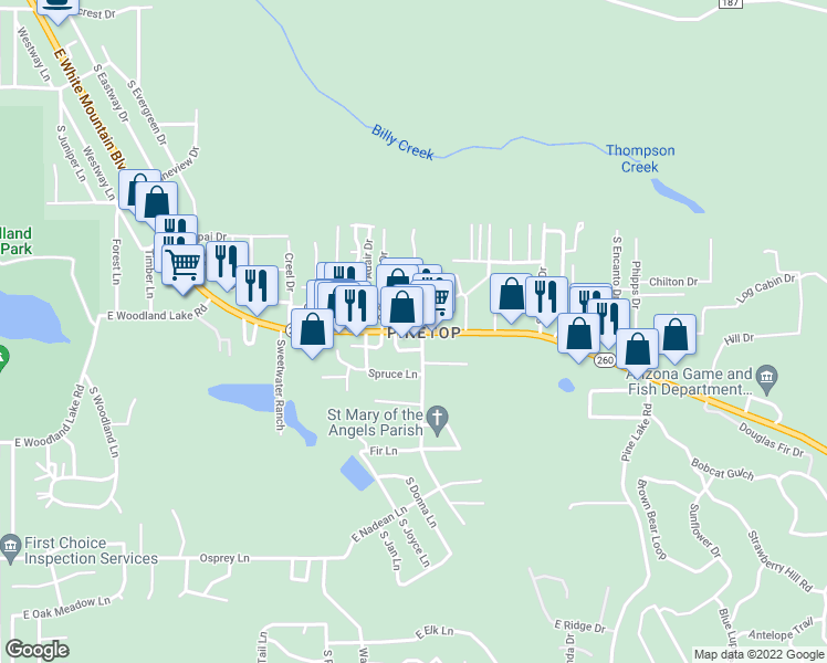 map of restaurants, bars, coffee shops, grocery stores, and more near 1599 South Penrod Drive in Pinetop-Lakeside