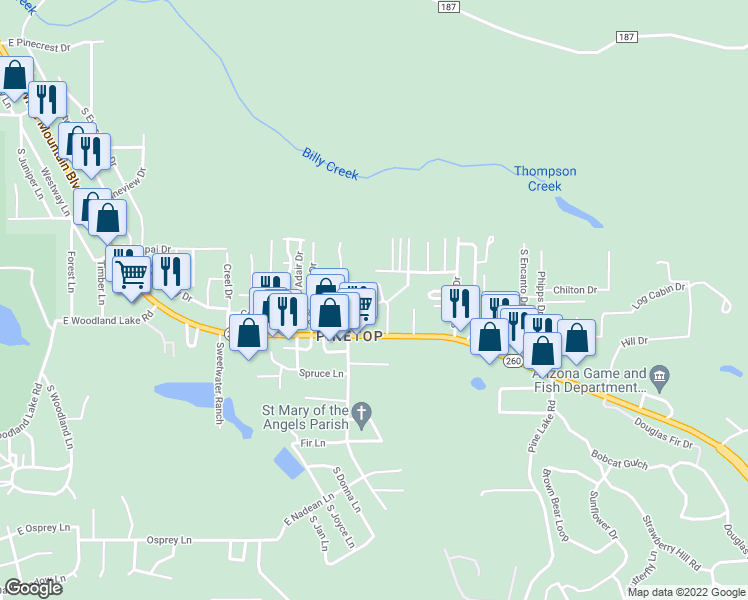 map of restaurants, bars, coffee shops, grocery stores, and more near 1450 South Emma Drive in Pinetop-Lakeside