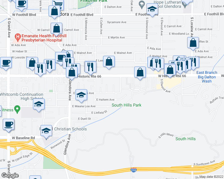 map of restaurants, bars, coffee shops, grocery stores, and more near 502 East Colorado Avenue in Glendora