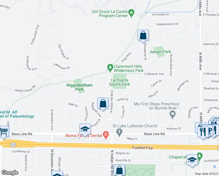 map of restaurants, bars, coffee shops, grocery stores, and more near 404 Mount Carmel Drive in Claremont