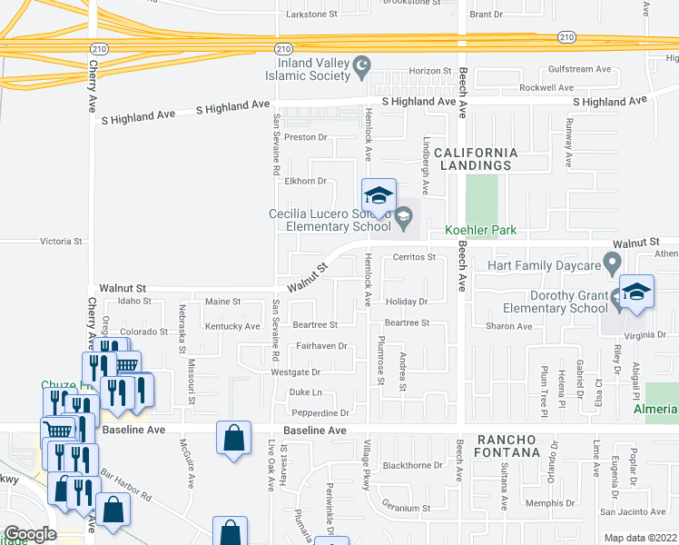 map of restaurants, bars, coffee shops, grocery stores, and more near 15054 Cory Lane in Fontana