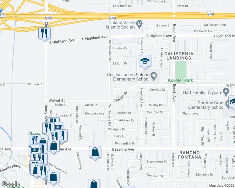 map of restaurants, bars, coffee shops, grocery stores, and more near 14948 Cory Place in Fontana