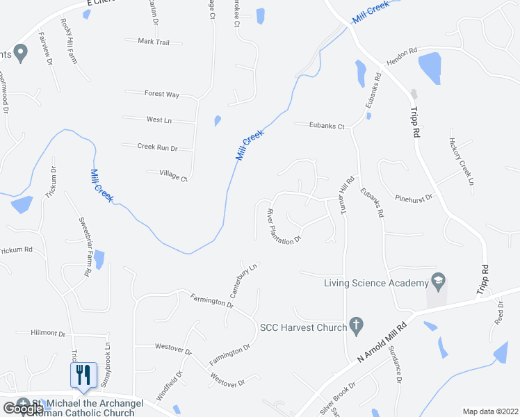 map of restaurants, bars, coffee shops, grocery stores, and more near 509 Lazy River Lane in Woodstock