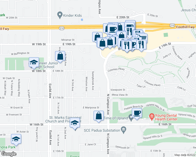 map of restaurants, bars, coffee shops, grocery stores, and more near 593 East Lureline Court in Upland