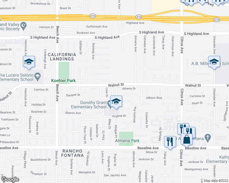 map of restaurants, bars, coffee shops, grocery stores, and more near 6936 Abigail Lane in Fontana