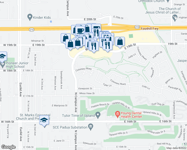 map of restaurants, bars, coffee shops, grocery stores, and more near 927 Matthys Way in Upland