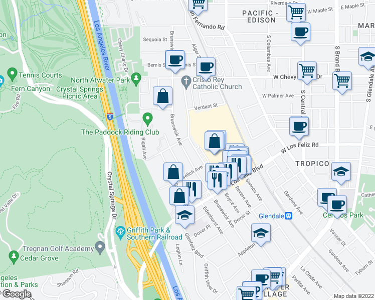 map of restaurants, bars, coffee shops, grocery stores, and more near 4153 Brunswick Avenue in Los Angeles
