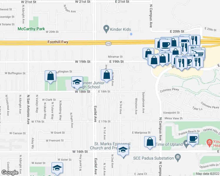 map of restaurants, bars, coffee shops, grocery stores, and more near 1811 North 2nd Avenue in Upland