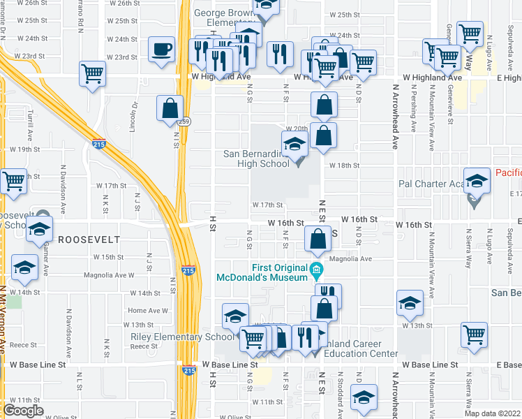 map of restaurants, bars, coffee shops, grocery stores, and more near 665 West 17th Street in San Bernardino