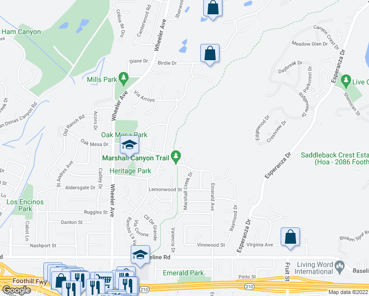 map of restaurants, bars, coffee shops, grocery stores, and more near 5182 Via Del Valle Street in La Verne
