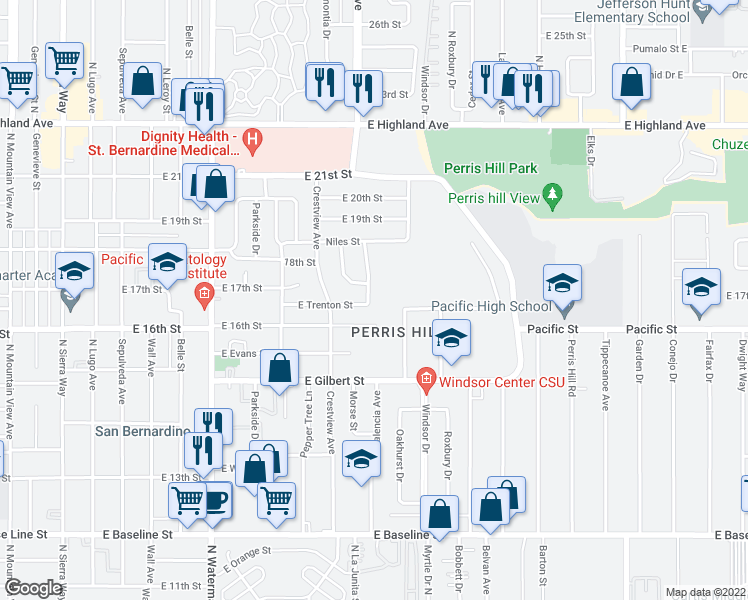 map of restaurants, bars, coffee shops, grocery stores, and more near 1635 Valencia Avenue in San Bernardino
