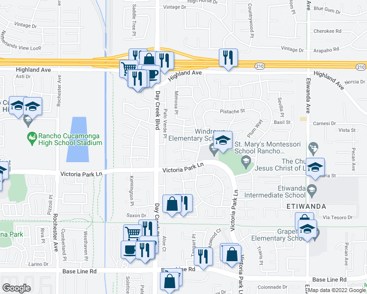 map of restaurants, bars, coffee shops, grocery stores, and more near 12300 Wintergreen Street in Rancho Cucamonga