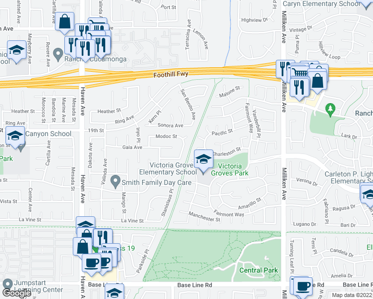 map of restaurants, bars, coffee shops, grocery stores, and more near 6773 Monterey Place in Rancho Cucamonga
